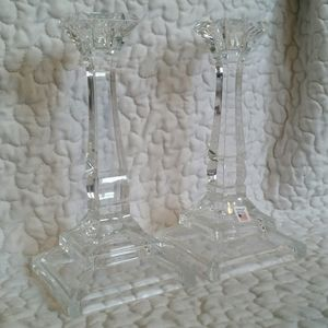 Vintage Pair Towle Crystal Glass Candle Holders
